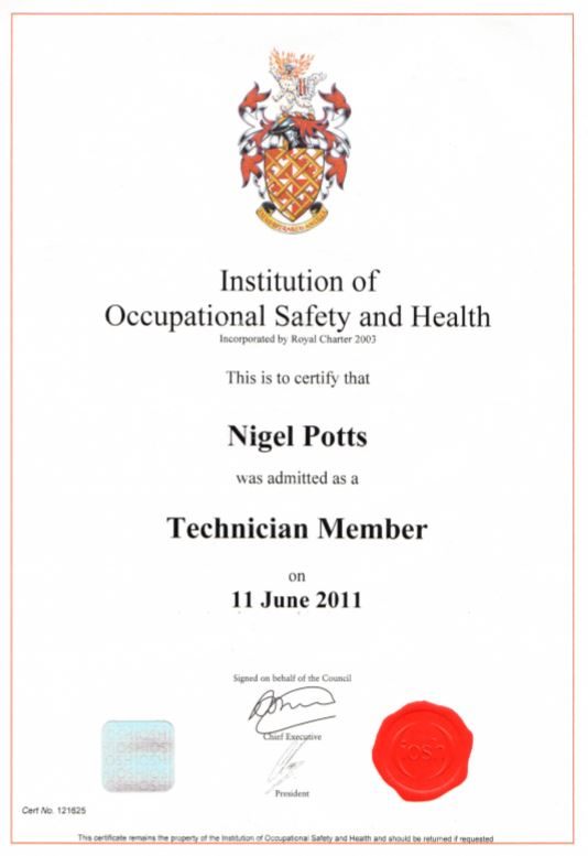 Nigel achieved NEBOSH Technician status